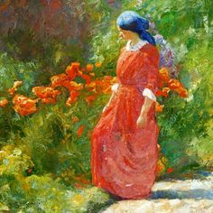 Woman in Red Dress in Garden with Poppies, 1914 Johannes Grenness (Norwegian, 1875-1963)