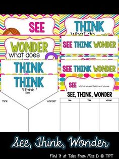 This pack will help you implement the See, Think, Wonder strategy in your classroom! Can be printed full size or scaled down for student sized cards. Included in this pack: 1) 4 different displays 2) 2 graphic organisers