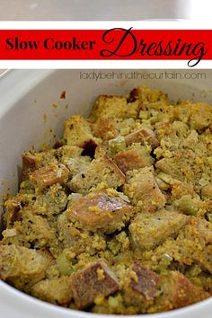Free up your oven and make this slow cooker dressing! You can't tell it was baked in a slow cooker. Oven space is always an issue for me during the holidays. So I decided to try something new this year and bake my dressing in the slow cooker. Crock Pot Food, Crock Pot Slow Cooker, Slow Cooker Recipes, Crockpot Recipes, Cooking Recipes, Crockpot Dishes, Best Christmas Recipes, Thanksgiving Recipes, Holiday Recipes