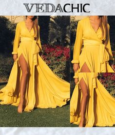 Yellow Wrap Deep V Neck Solid Color Belt Dacron Boho Maxi Dresses on Sale at VEDACHIC, free shipping on orders over $49, register now to get 8% off! #vedachic #maxidresses #boho dresses