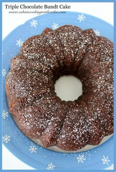 Triple Chocolate Bundt Cake is a chocolate lover's dream!  Easy from a cake mix! by whatscookingwithruthie.com #recipes #chocolate #cake