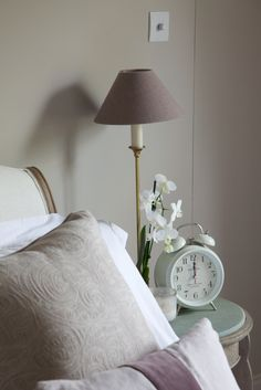 Farrow + Ball Elephants Breath paint in living room will tie in with the paint in the kitchen (as per the lamp above) Bedroom Color Schemes, Bedroom Colors, Colour Schemes, Bedroom Decor, Bedroom Ideas, Farrow Ball, Farrow And Ball Paint, Elephants Breath Paint, Room Inspiration