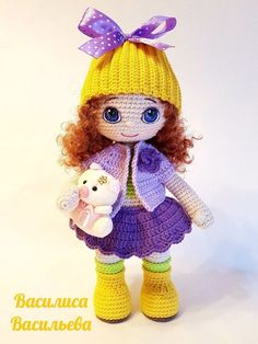 28 Ideas Crochet Amigurumi Doll Clothes Free Pattern For 2019 Crochet Doll Pattern, Crochet Toys Patterns, Stuffed Toys Patterns, Doll Patterns, Crochet Doll Clothes, Knitted Dolls, Crochet Dolls, Crochet Baby Socks, Pretty Dolls