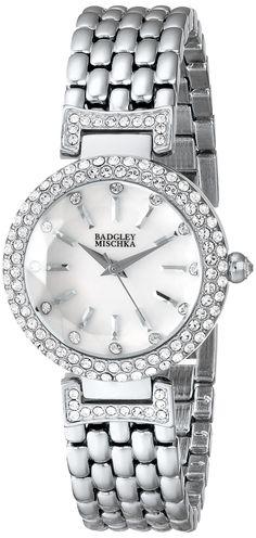 Badgley Mischka Swarovski Crystal-Accented Watch with Silver-Tone Bracelet