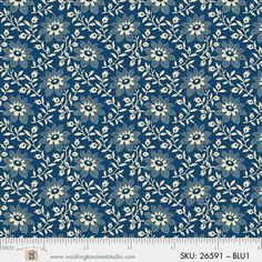 King Quilts Wide Backing - Blue Flowers and Sprigs