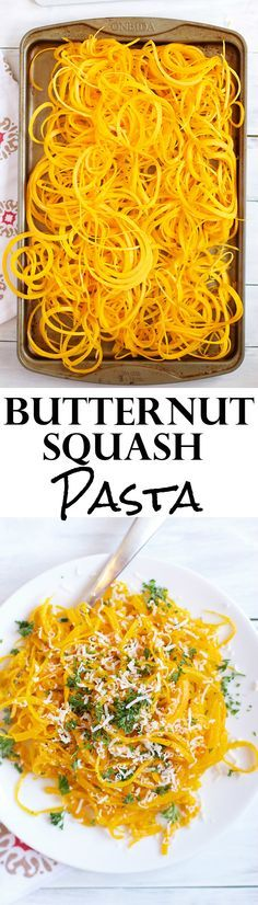 This Butternut Squash Pasta is SO easy to make and is a delicious and light dinner alternative for traditional pasta. A fun way to eat butternut squash. Pastas Recipes, Zoodle Recipes, Spiralizer Recipes, Cooking Recipes, Vegetable Spiralizer, Dishes Recipes, Recipies, Veggetti Recipes, Dinner Ideas