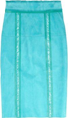 Burberry Prorsum Raffia-trimmed Suede Pencil Skirt in Blue (aqua) - Lyst