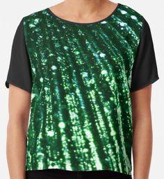 Triton´s Secrets - Shimmering Green  Chiffon Top Yellow Art, Green Art, Blue Art, Watercolor Circles, Watercolor Pattern, Mermaid Art, Wearable Art, Chiffon Tops, Classic T Shirts