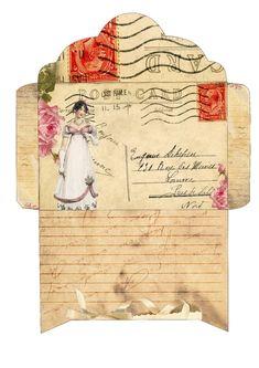 Diy Envelope, Free Graphics, Printable Paper, Journal Cards, Junk Journal, Free Prints, Mail Art, Vintage Paper, Vintage Writing Paper