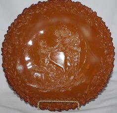 "Vintage Greentown Indiana Glass EAPG Chocolate Slag ""Serenade"" 8"" Plate"