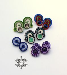 Soutache Necklace, Ring Necklace, Tassel Earrings, Shibori, Beach Crafts, Diy And Crafts, Beaded Embroidery, Boho Jewelry, Hair Bows