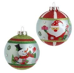 RAZ Imports - Santa & Snowman Glass Ball Ornaments