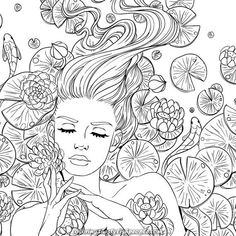 Adult Coloring Page Lily Pond Girl Line Art Fairy Coloring Pages, Adult Coloring Book Pages, Printable Adult Coloring Pages, Coloring Books, Kids Coloring, Colorful Drawings, Line Art, Graffiti, Sketches