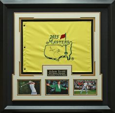 Adam Scott Signed 2013 Masters Flag Collage Framed Display