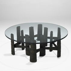 Paul Evans; Torch-Cut Steel and Glass Coffee Table for Paul Evans Studio, 1970s.