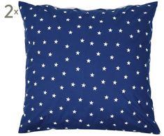 Renforcé-Wendekissenbezüge Star, 2 Stück, indigoblau/weiß, 80 x 80 cm