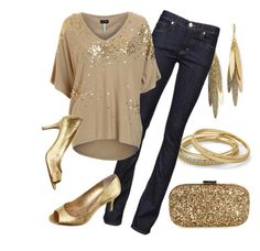 """""""You're Golden"""" by qtpiekelso ❤ liked on Polyvore featuring Anya Hindmarch, Rachel Reinhardt, Tinley Road, Hudson Jeans, Armani Jeans and LOFT"""