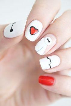 Baymax nails, OMG love these! Nail Art Disney, Disney Acrylic Nails, Cute Acrylic Nails, Pretty Nail Art, Cute Nail Art, Easy Nail Art, Cute Nails, Nail Art Designs, Disney Nail Designs
