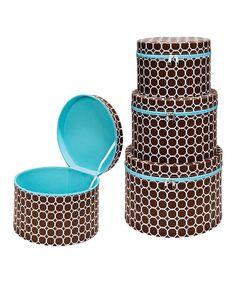 Hula Chocolate Nested Zipper 3-Piece Hat Box Set