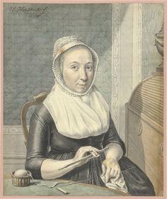 Portret van een dame met breiwerk, Warner Horstink, 1799