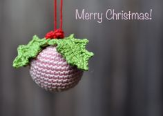 @ A Conversation with Moo: pretty Christmas decoration - tutorial for similar bauble here: http://crafts.tutsplus.com/tutorials/how-to-crochet-christmas-ornaments--craft-15934 and tutorial for holly leaves here: http://attic24.typepad.com/weblog/holly-leaves.html