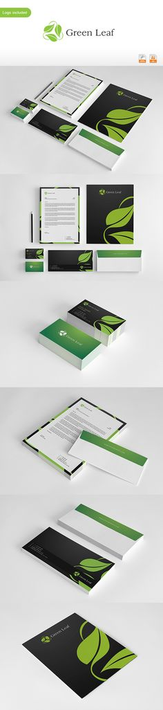 Green Leaf Corporate Identity. Just love the flowing leaf print of this.