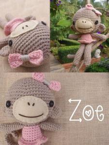 Crochet Monkey Zoe, amigurumi monkey