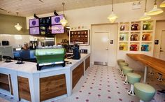 Stan's Donuts - Wicker Park in Chicago. Reclaimed white oak, paneling, custom steel and retail shelving.