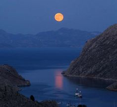 Moonlight over Tilos island | Greece
