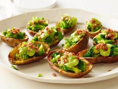 Broccoli and Cheddar-Stuffed Potato Skins with Avocado Cream