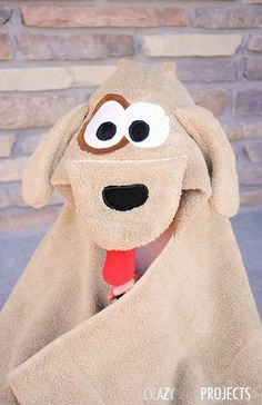 Woof Hooded Towel Pattern | AllFreeSewing.com