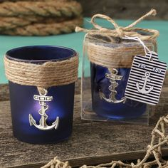Find Anchor Design glass votive with quantity discounts here, along with other wedding favors and shower gifts. Candle Wedding Favors, Candle Favors, Beach Wedding Favors, Wedding Ideas, Party Wedding, Wedding Stuff, Wedding Decorations, Nautical Party Favors, Nautical Theme