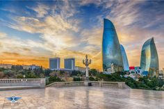 Baku Flame Towers is a striking new addition to the skyline of Baku. Located atop a hill on the Caspian Sea overlooking Baku Bay and the old city center, the. Azerbaijan Travel, Baku Azerbaijan, Group Tours, Old City, Business Travel, Cool Places To Visit, The Good Place, Travel Destinations, Tourism