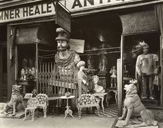 """ah....to step back in time...and bring it back with me...""""Sumner Healy Antique Shop, 3rd Ave and 57th Street"""" by Eugene Atget, New York City, 1900s"""