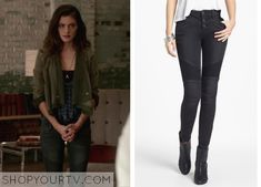 Hayley Marshall (Phoebe Tonkin) wears these paneled moto skinny jeans in this week's episode of The Originals. They are the Free People Seamed Moto Skinny Jeans in Moonlight. Buy them HERE for $96, or HERE for $128