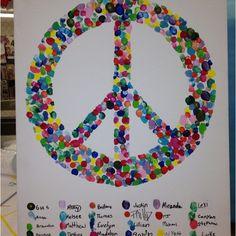 Fingerprint peace sign going away present for my student teacher Class Art Projects, Classroom Art Projects, Auction Projects, Art Classroom, Art Auction, Auction Ideas, Going Away Presents, Remembrance Day Art, Harmony Day