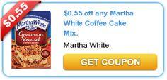 $0.55 off any Martha White Coffee Cake Mix.