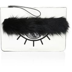 KENDALL + KYLIE Annie Eyelash Leather Pouch (765 SEK) ❤ liked on Polyvore featuring bags, handbags, clutches, zipper pouch, white leather purse, white clutches, leather man bags and man bag