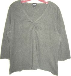 EILEEN FISHER 100% CASHMERE sweater ruched front v-neck knit top tunic green XL #EileenFisher #VNeck