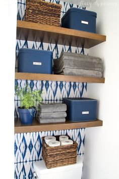 Blue and White Bathroom Makeover | Stacy Risenmay upstairs bathroom
