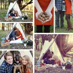 Camping photo shoot idea | Engagement Photography | Love | Romantic Photo Session Idea | Fun | Prop & Pose Ideas | Pet | Puppy | Dog | German Shepherd | Couple