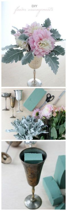 Easy DIY Flower Arrangements with Floral Foam. Anyone with a few fresh flowers and a few minutes can create this beautiful flower arrangement.