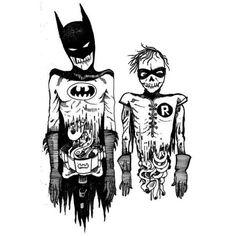 Batman y Robin zombies.