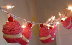 Fake Cupcake Valentines Day Cupcake String of Lights 12 Legs OriginalConcept Design 10 Pink Cupcakes Fab Bakery Decor Kitchens First on Etsy. Valentine Day Cupcakes, Valentines Diy, Bakery Decor, Bakery Ideas, Baking Organization, Fake Cupcakes, Dog Bakery, Valentine Decorations, Cupcake Decorations