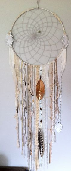 huge white dreamcatcher with white fringe by rachael rice http://rachaelrice.com/art/custom-orders