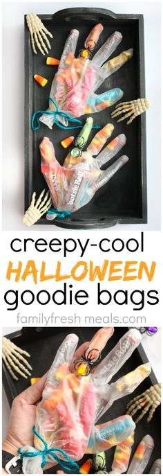 These Creepy Halloween Goodie Bags  make a great favor for a Halloween party, or a fun craft idea for home or school. They're really easy to make, too. #familyfreshmeals #halloween Easy Halloween Desserts, Halloween Treats For School, Halloween Decorations To Make, Creepy Halloween Food, Halloween Food Crafts, Halloween Favors, Bonbon Halloween, Halloween Goodie Bags, Halloween Skeletons