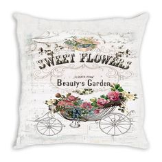 Throw Pillow. Beautiful Vintage Sweet Flowers Throw Pillow