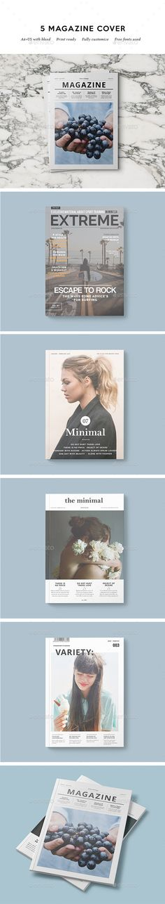 5 Magazine Covers Template InDesign INDD. Download here: https://graphicriver.net/item/5-magazine-covers/17305913?ref=ksioks