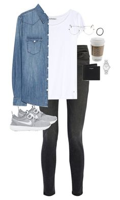 """Untitled #11601"" by alexsrogers ❤ liked on Polyvore featuring Frame Denim, Acne Studios, MANGO, NIKE, Ray-Ban, Yves Saint Laurent and Marc by Marc Jacobs"