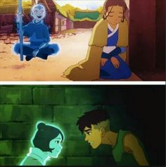 Avatar Parallels. Kataang / Kainora<<<< except for Aang was actually in the spirit world and Katara couldn't see him, and Jinora just projected her spirit, so Kai could see her.